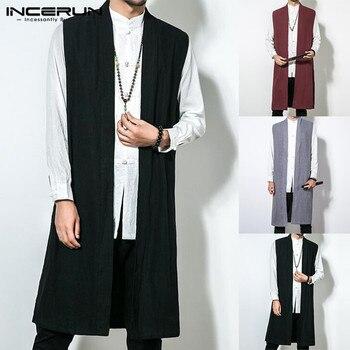 INCERUN hommes gilet Long Trench sans manches coton solide hommes gilet Style chinois rétro décontracté manteau mince vêtements d