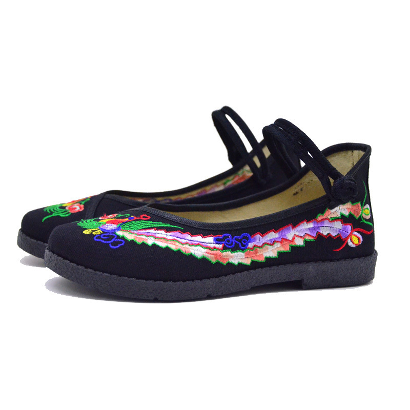 Fashion 2017 Old Peking Cloth Shoes, Chinese Style Totem Flats Mary Janes Embroidery Casual Shoes, Red+Black Women Shoes S189 (50)