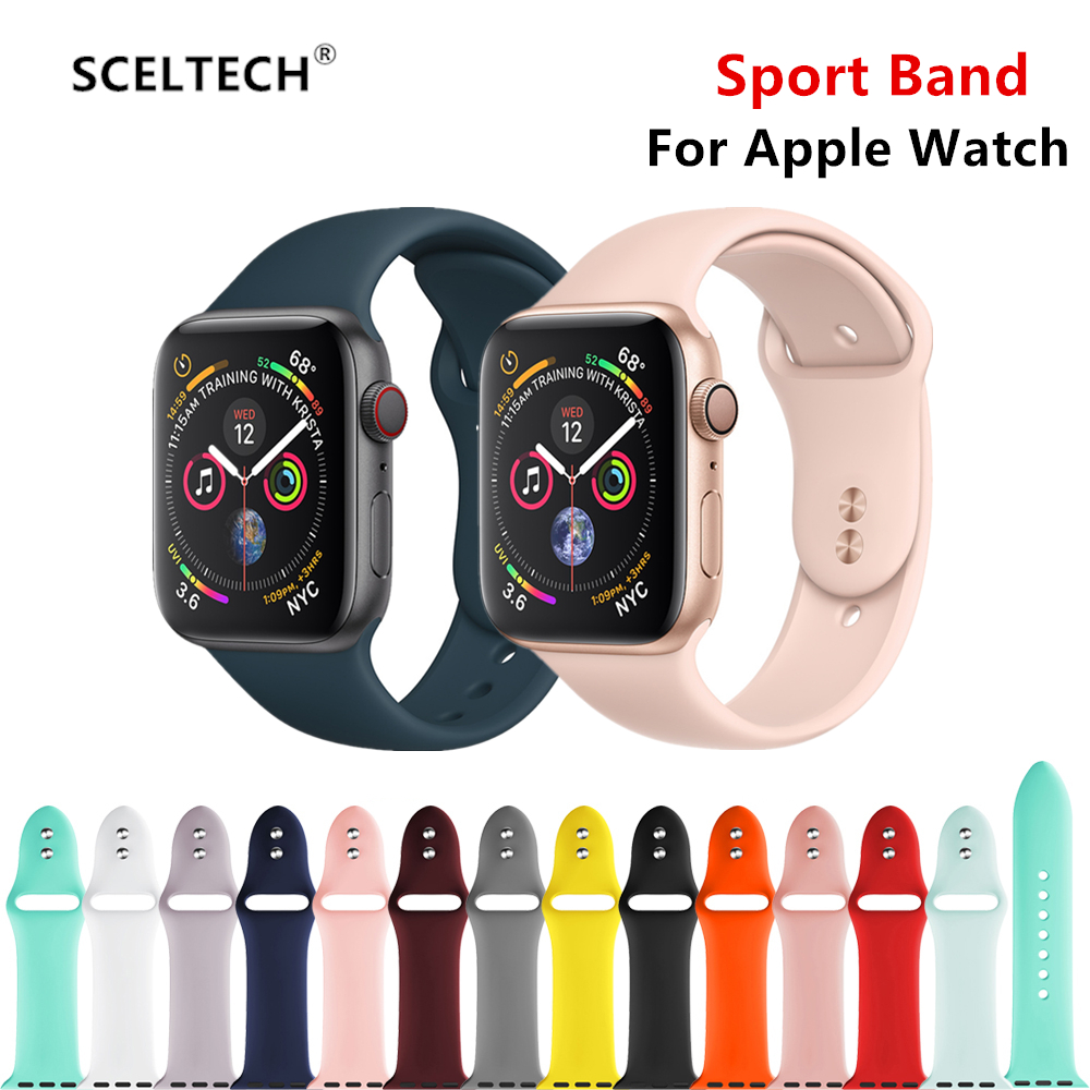 SCELTECH Strap For Apple Watch Band 4 3 Iwatch Band 38mm 42mm For Apple Watch Strap 44mm 40mm Sport Silicone Bracelet Watchband