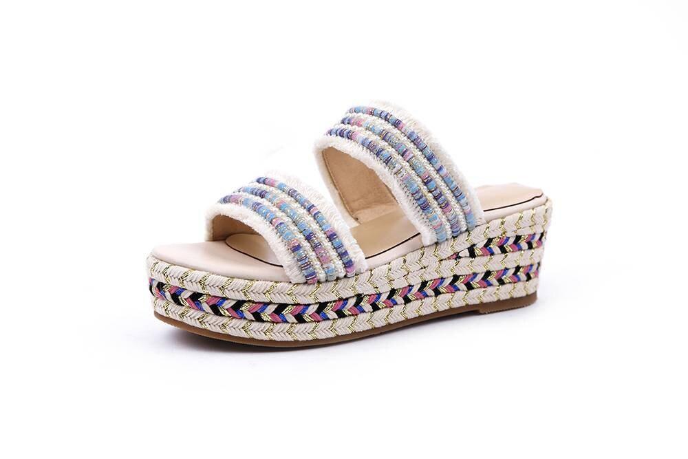 Krazing olla colores mezclados de estilo étnico cuñas de plataforma inferior peep del dedo del pie redondo diseño europeo sandalias de verano sandalias de fiesta L20-in Sandalias de mujer from zapatos    3