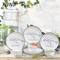 12 штук корейские столовые приборы набор керамической посуды творческие наборы посуды дома вечерние 45