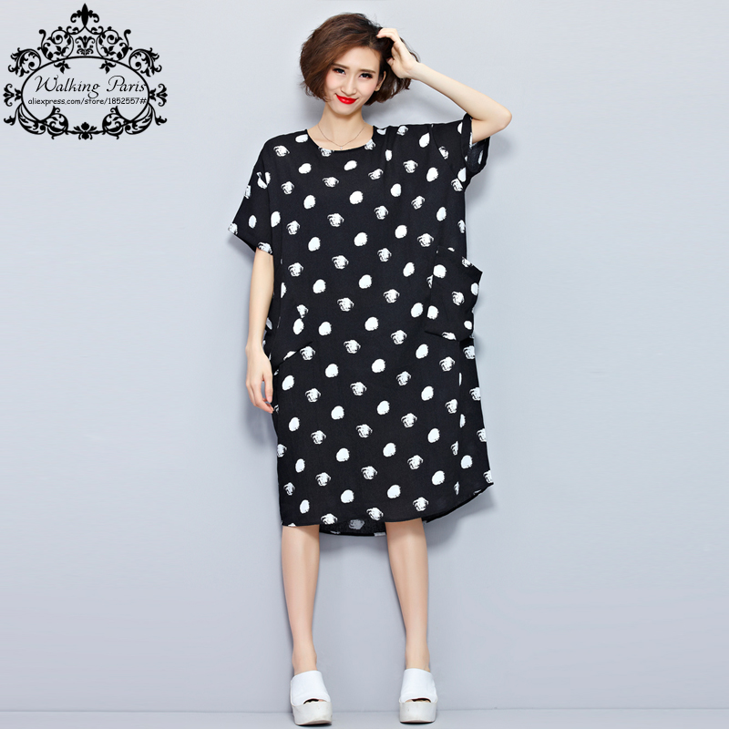 fd6f7965fc Big Size New Women Summer Dress White Polka Dot Fashion Dresses Casual T  shirt Dress Linen Clothes With Pocket Female Long Tops-in Dresses from  Women s ...