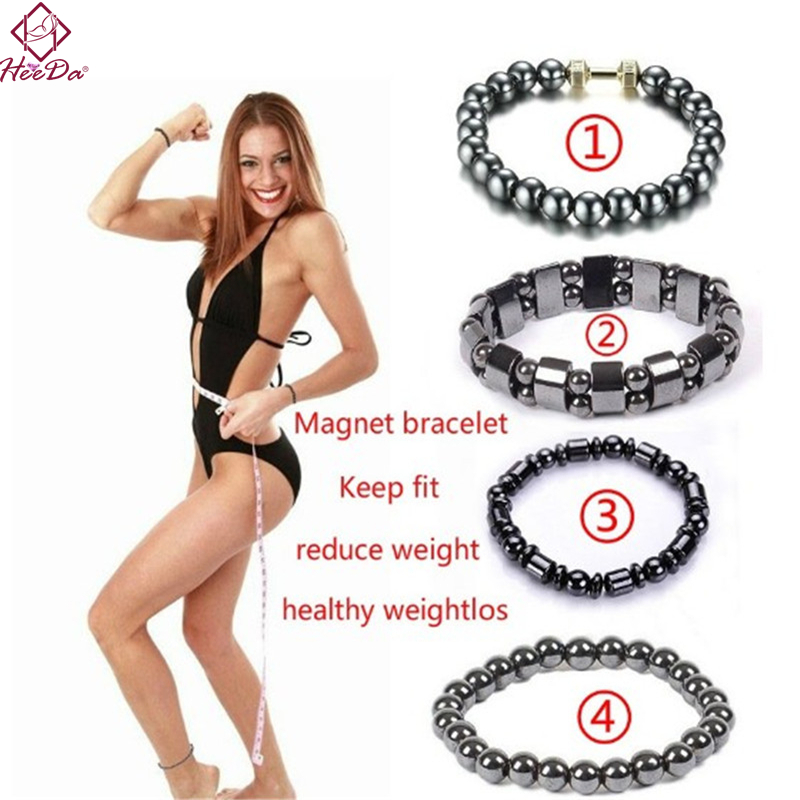 Heeda Weight Loss Stone Magnetic Therapy Slimming Bracelets Women Men Kpop Vintage Black Punk Health Bangle Unique Jewelry 2018