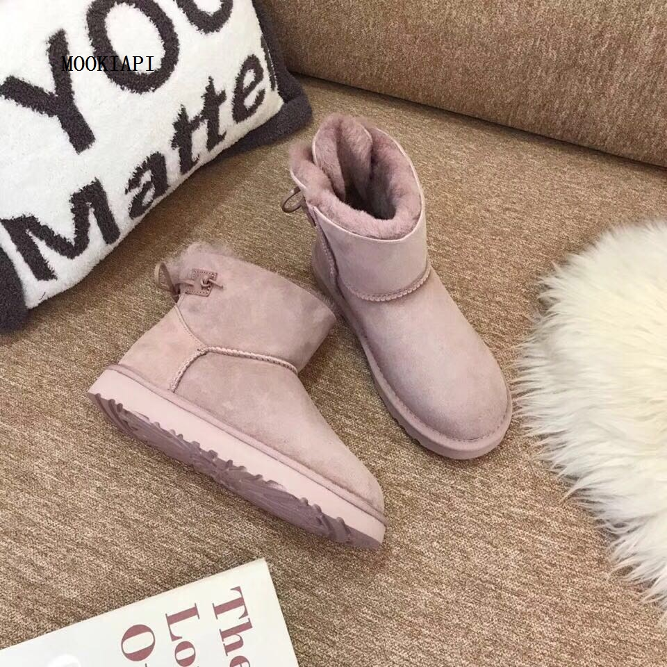 In 2019 Europe s latest high quality snow boots real sheepskin 100 wool women s snow