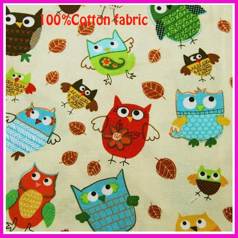 110 * 50cm1pc Owl Fabric 100% Bavlna Fabric Telas Patchwork Bavlněné sovy Tištěné látky Šicí materiál DIY Dětské oblečení Prošívání
