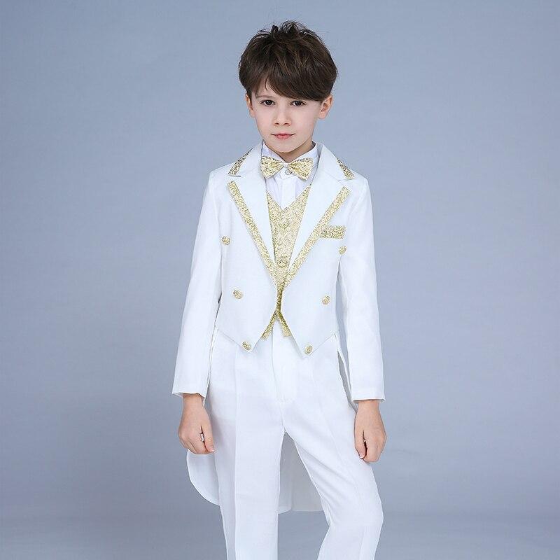Alta qualidade 2019 novas crianças terno menino smoking terno desempenho vestido pequeno comando host grande menino traje de piano magia terno