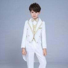 High quality 2019 new children's suit tuxedo boy performance suit dress small host command big boy piano costume magic suit недорого