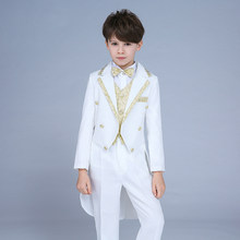 High quality 2019 new children's suit tuxedo boy performance suit dress small host command big boy piano costume magic suit(China)
