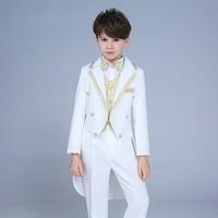 High quality 2019 new children's suit tuxedo boy performance suit dress small host command big boy piano costume magic suit