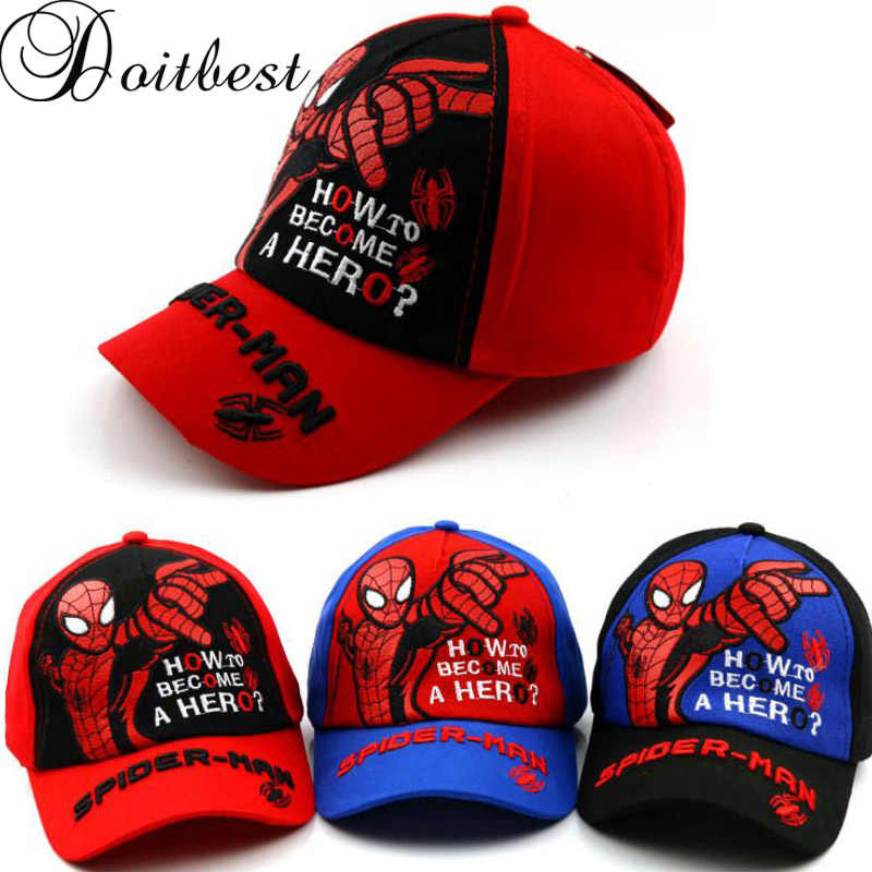 ad097a18e7be Doitbest 2 to 8 Y Child Baseball Cap Europe Hip Hop kids Sun Hat cartoon  spider-man Boys Girls snapback Caps hats