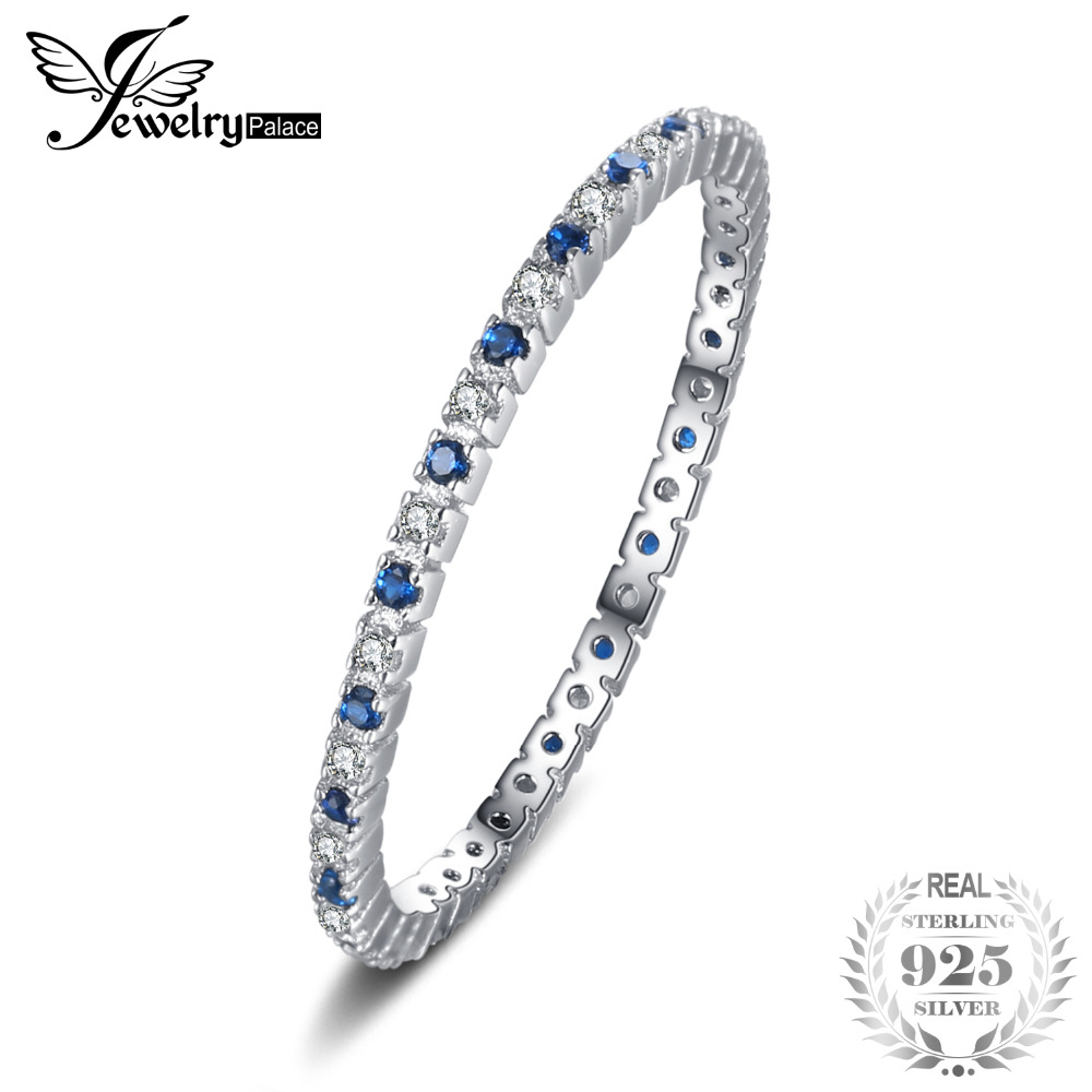 JewelryPalace Classic Round Created Blue Spinel Wedding Band Rings For Women 100% 925 Sterling Silver Brand Fashion Fine Jewelry jewelrypalace 100