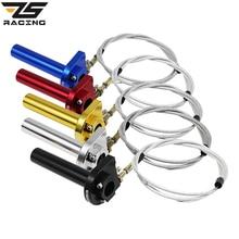 """ZS Racing ZSDTRP 7/"""" мотоцикл дроссельная заслонка поворотные ручки 22 мм ЧПУ алюминиевая ручка с кабелем ускоритель мопед скутер"""
