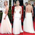SML1877 2017 Golden Globe Awards Sexy Charming Red Carpet A line Tulle Floor length White long famous celebrity dresses