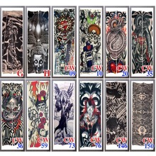 high quality Tattoo sleeve Lengthened 48cm elastic Fake 20model Arm stocking Black skull King evil Buddha Wolf Dragon tiger cool