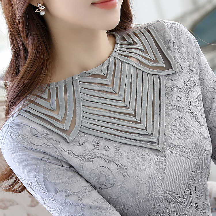 Lace Blouse Blusas Femininas 2018 Spring Summer Women Grey Shirt O-neck Long Sleeve Hollow Out Casual Plus Size Tops