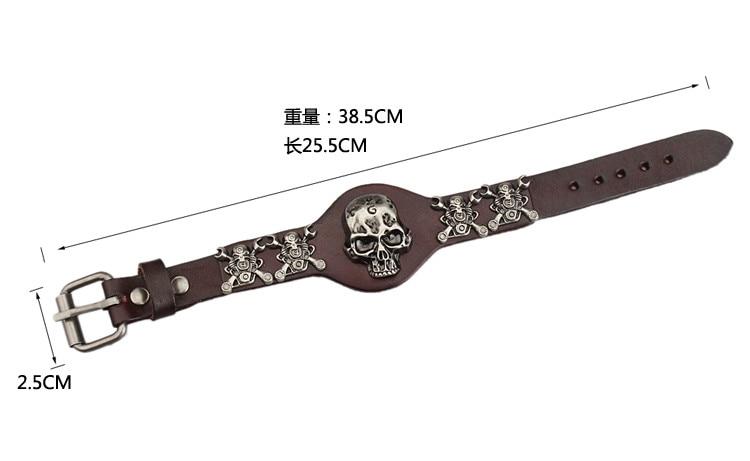 New Design Jewelry Multicolor Punk Rock Evil Skull Genuine Leather Wrap Bracelet for Women Men Ride Wristband Bracelets Cuff 2