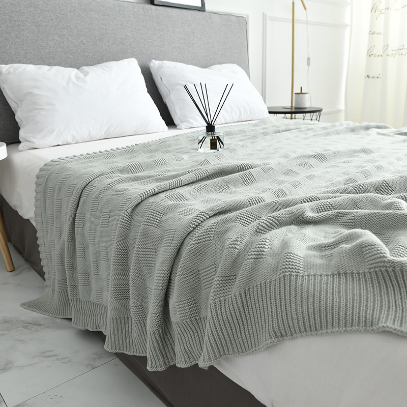 Soft Big Blankets for Beds Cotton Bedding Plaid Knitting Blanket Air Conditioning Comfy Sleeping Bed Bedspreads