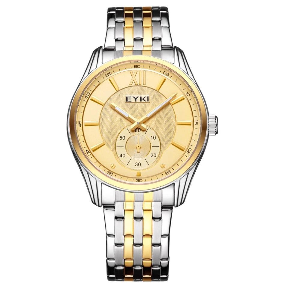 лучшая цена EYKI Independent Second Hand Luminous Pointer Quartz Watch Luxury Watch Men Brand Men's Watches Stainless Steel Mesh Band Watch
