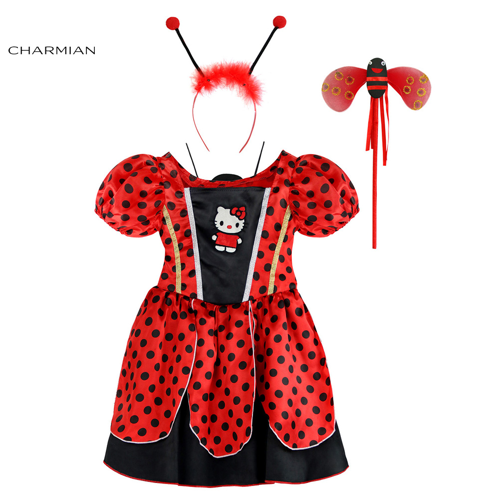 Charmian Ladybird Halloween Costumes for Girls Ladybug Cosplay Fancy Dress Red And Black Polka Dot Costume Clothing