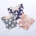 2017 Primavera Bebê De Algodão T-shirts Para Meninas Animal Print Tee Roupa dos miúdos Flor Collar Estilo Coreano Crianças Encabeça Menina Bonito Tees