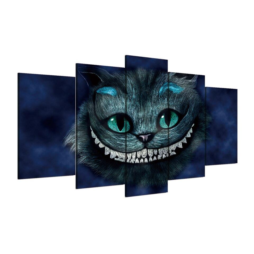 5 unids/set enmarcado HD impreso gato de Alice Wonderland cartel del ...