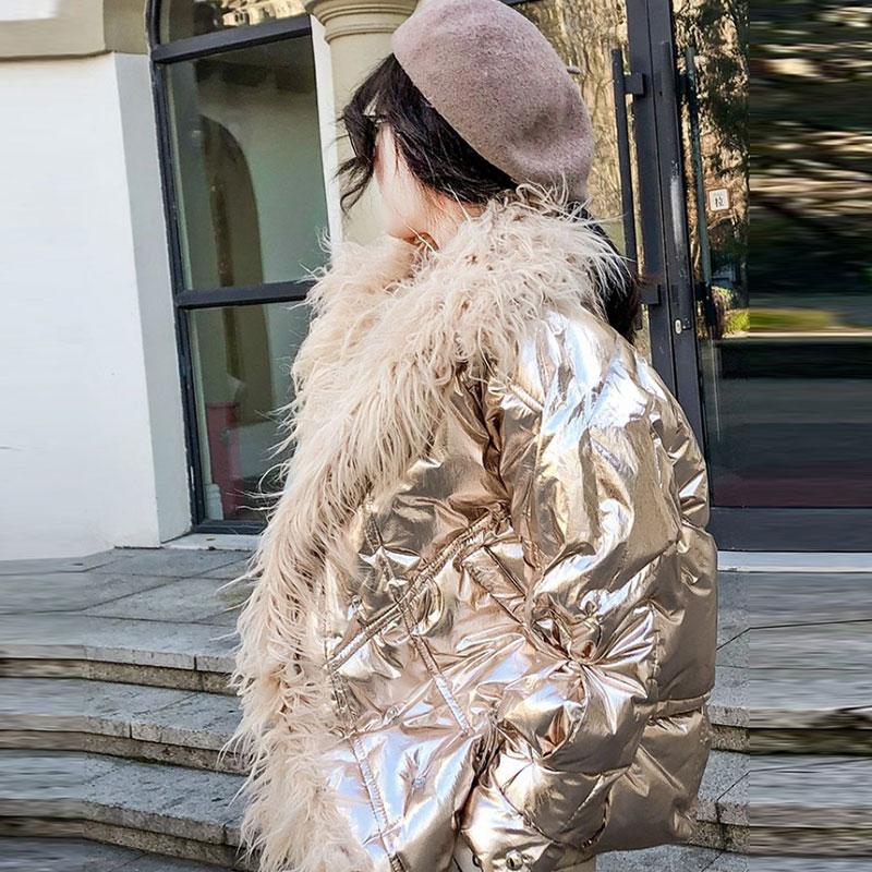 2019 jesień zima kurtka koreański Silver błyszczące Faux Mongolia owca futro bawełna kobiety płaszcz moda luźne ciepła kurtka płaszcz z kapturem 088 w Parki od Odzież damska na  Grupa 3