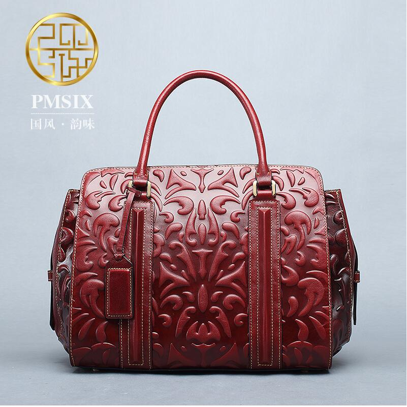 Pmsix2017 new Chinese wind embossed leather handbag first layer of leather big bag fashion retro shoulder bag Messenger bag genuine leather handbag pmsix 2017 new national wind art fashion leather handbags retro embossed handbag shoulder bags