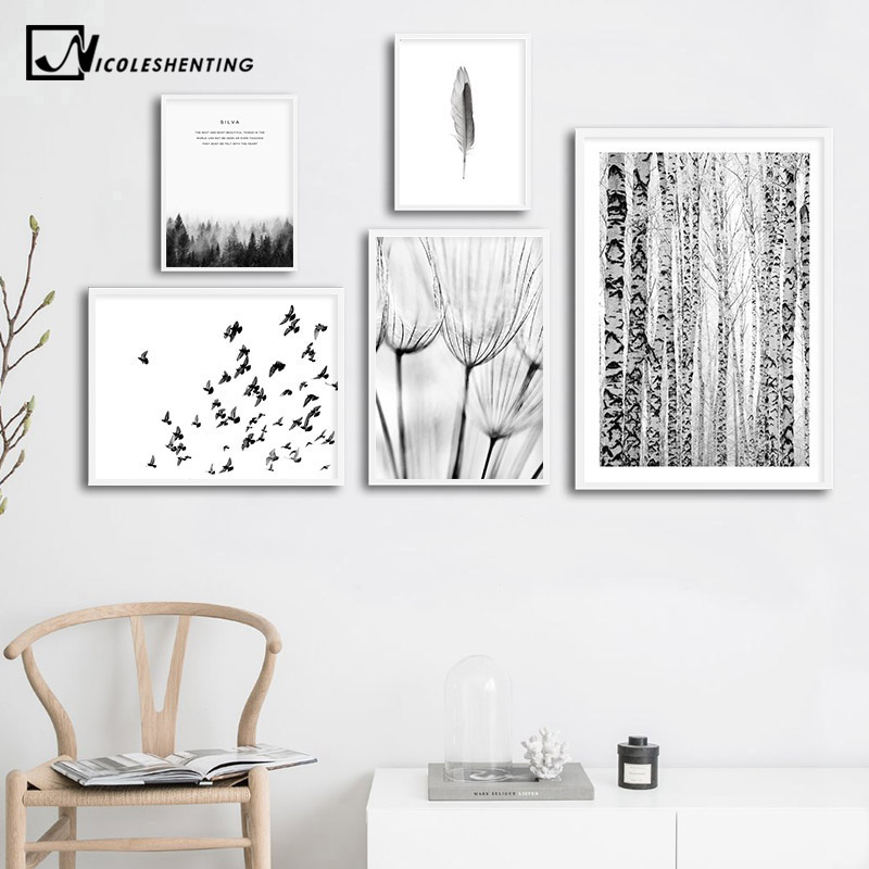 Nature Winter Forest Nordic Poster Black White Scenery Canvas Art Decorative Print Wall Painting Scandinavian Decoration Picture