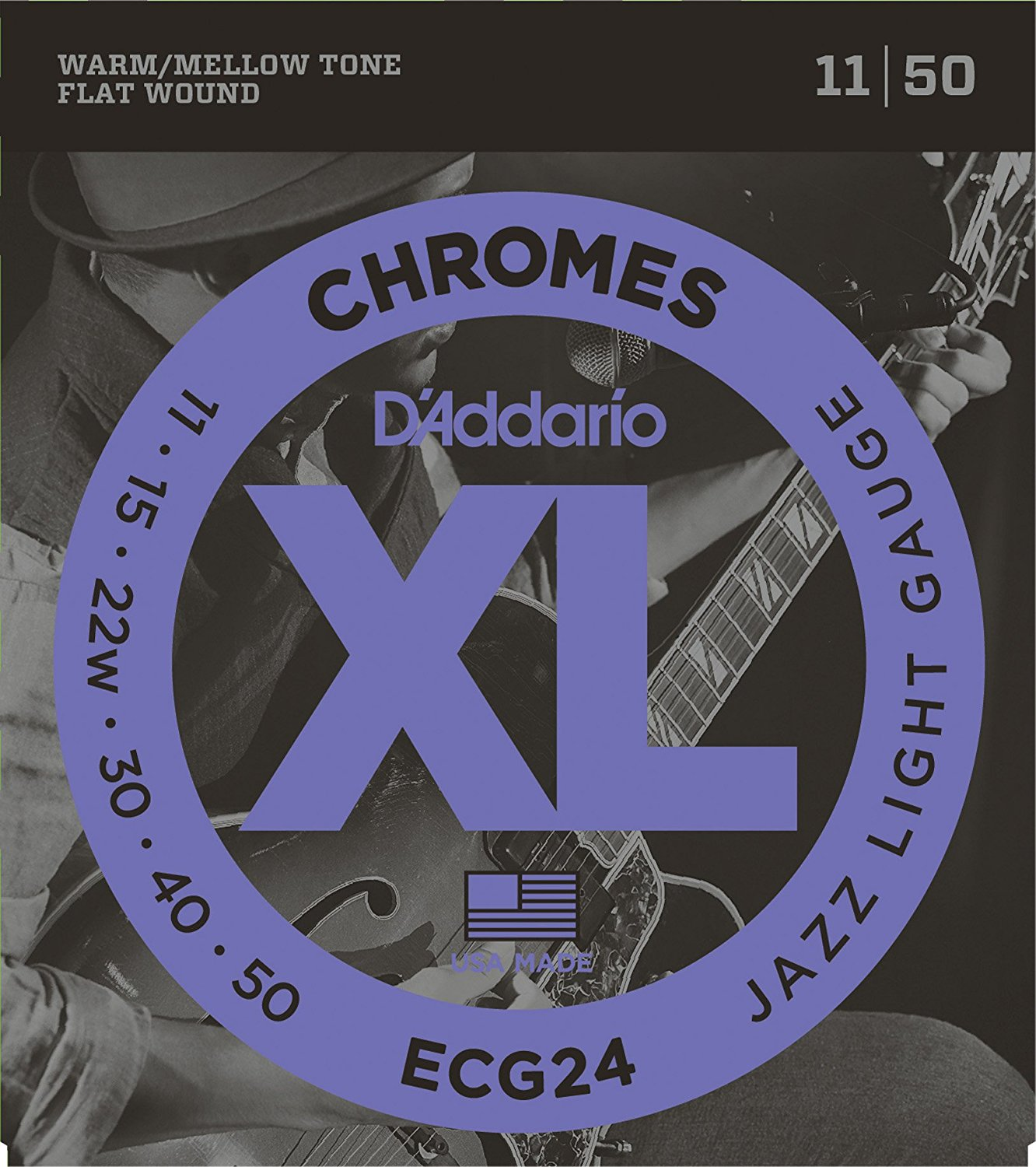 D'Addario ECG24 XL Chromes Jazz Light Electric Guitar Strings Flatwound, Jazz Light, 11-50 rotosound sm77 jazz bass flatwound strings monel