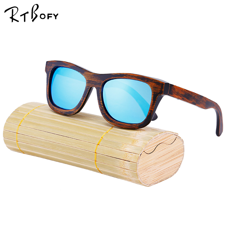 BAMBOO SUNGLASSES Wooden Mens Womens Retro Vintage Wood Mirror Polarized Glasses