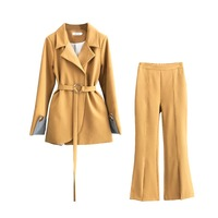 BGTEEVER Fashion Lace Up Women Pant Suit Slim Waist Blazer & High Waist Flare Pant OL Style Female 2 Pieces Set 2018