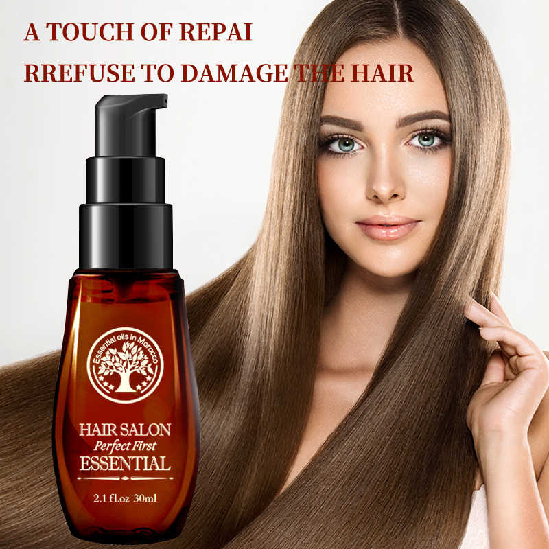 LAIKOU Pure Morocco Argan Oil Hair Oil Keratin Straightening Curly Treatment Growth Mask for Damaged Hair Dry Split Ends 40ml