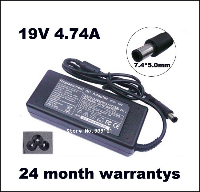 מתאם AC מטען HP 19V 4.74 A 90W 463955-001 609940-001 PPP012H-S Pavilion dv3 dv4 dv5 g4-g6 g7