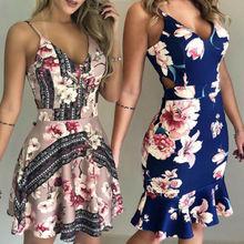Женское летнее Короткое мини-платье в стиле бохо, Пляжное платье для вечерние, сарафан с v-образным вырезом и цветочным принтом, модные платья, женская одежда