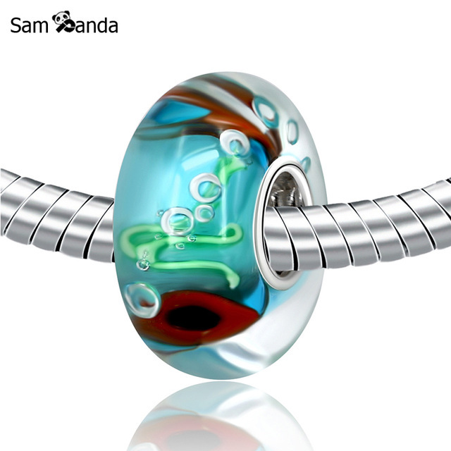 3dcc92d4fbeb1 Authentic 925 Sterling Silver Murano Cute Fish Glass Beads Lampwork Charms  Fit Pandora Bracelet & Bangle Necklace DIY Jewelry-in Beads from Jewelry &  ...