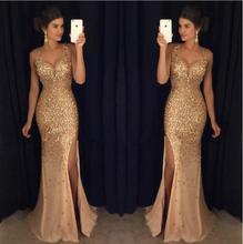 Long Evening Dresses 2019 Mermaid V Neck Luxury Crystals Beaded Sexy Backless Champagne African Women Formal Prom Gowns