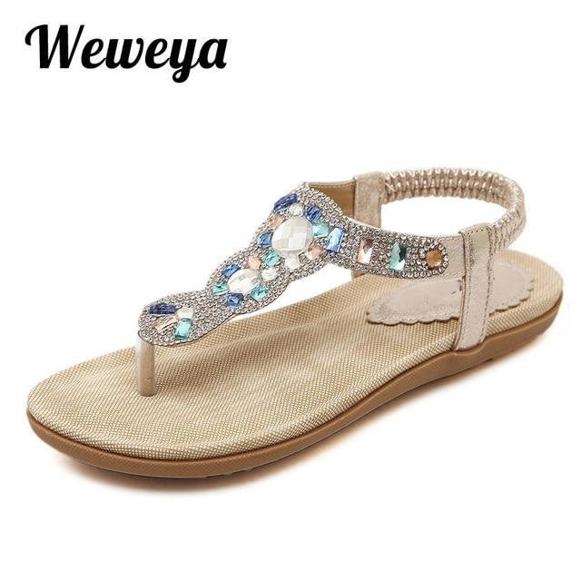 c7e1610f313b Weweya Summer Flat Sandals Ladies Bohemia Beach Flip Flops Shoes Gladiator  Women Shoes Sandles Platform Zapatos Mujer Sandalias