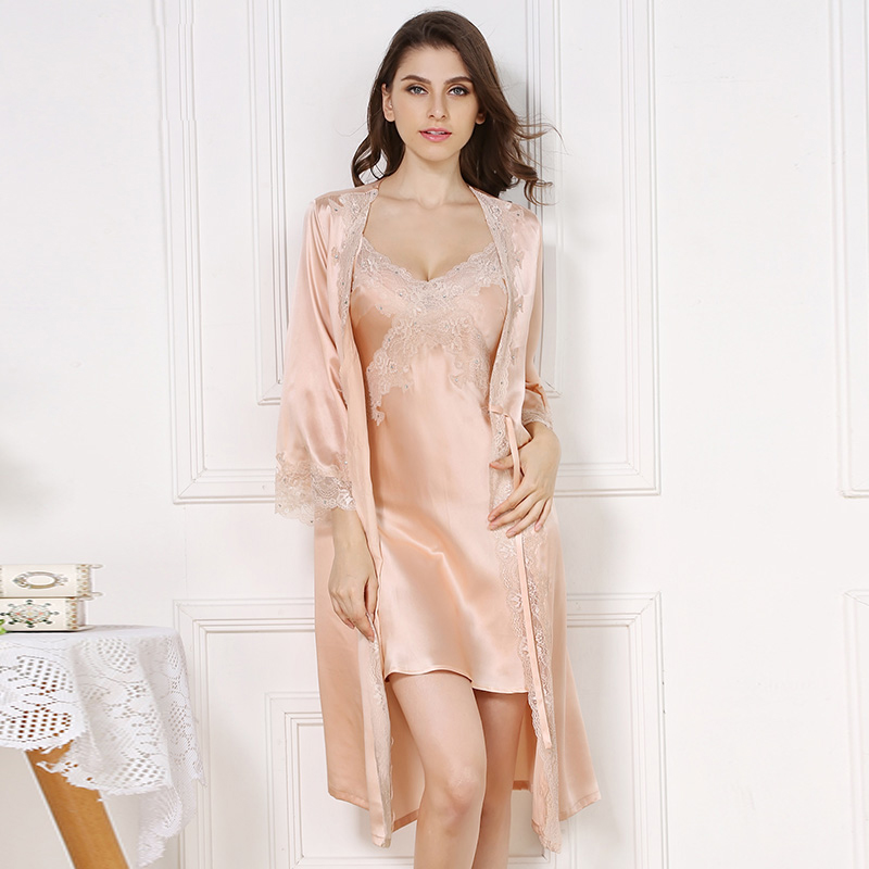 100% Silkworn Silk Women Sleeping Robe Nightdress Two-Piece Sets Summer Sexy V-Neck Lace Real Sleepwear Female S5503