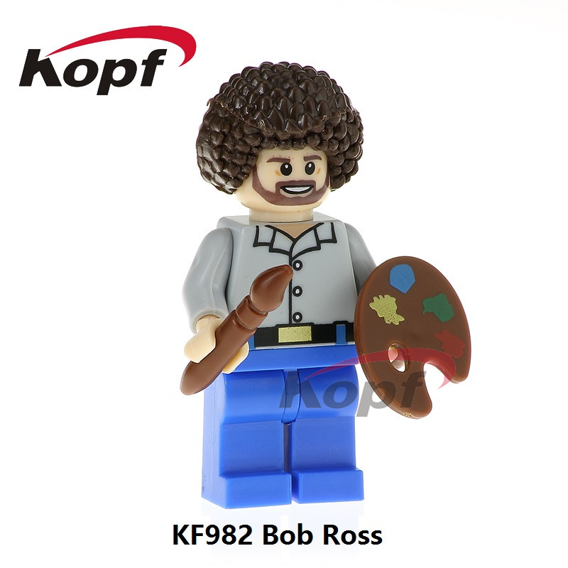 Building Blocks Single Sale Bob Ross American Painter The Joy of Painting Super Heroes Model Bricks Children Gift Toys KF982 single sale building blocks super heroes bob ross american painter the joy of painting bricks education toys children gift kf982