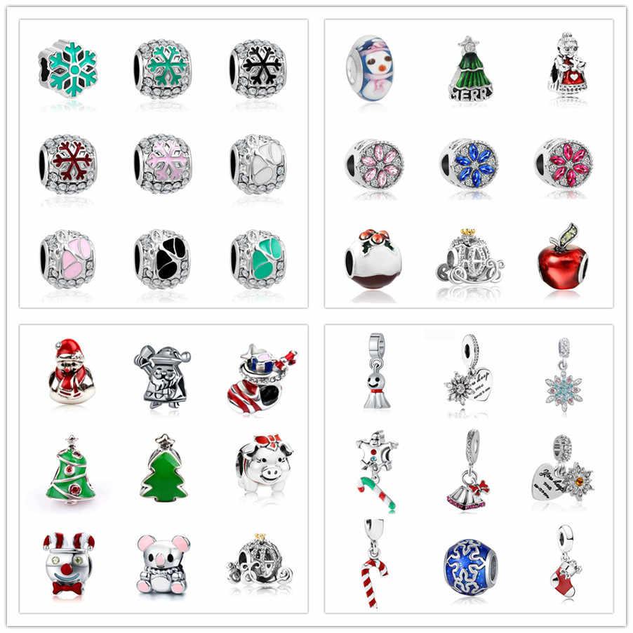 כסף צבע 1pc אירופאי חג המולד מתנת פתית שלג עץ דלעת רכב fit מתאים פנדורה סגולה צמידי W023