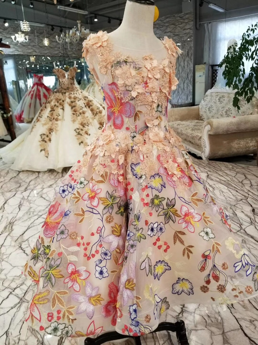Printed flowers colorful dress elegant flower girl dresses for wedding 2018 girl party dress International Children's Day