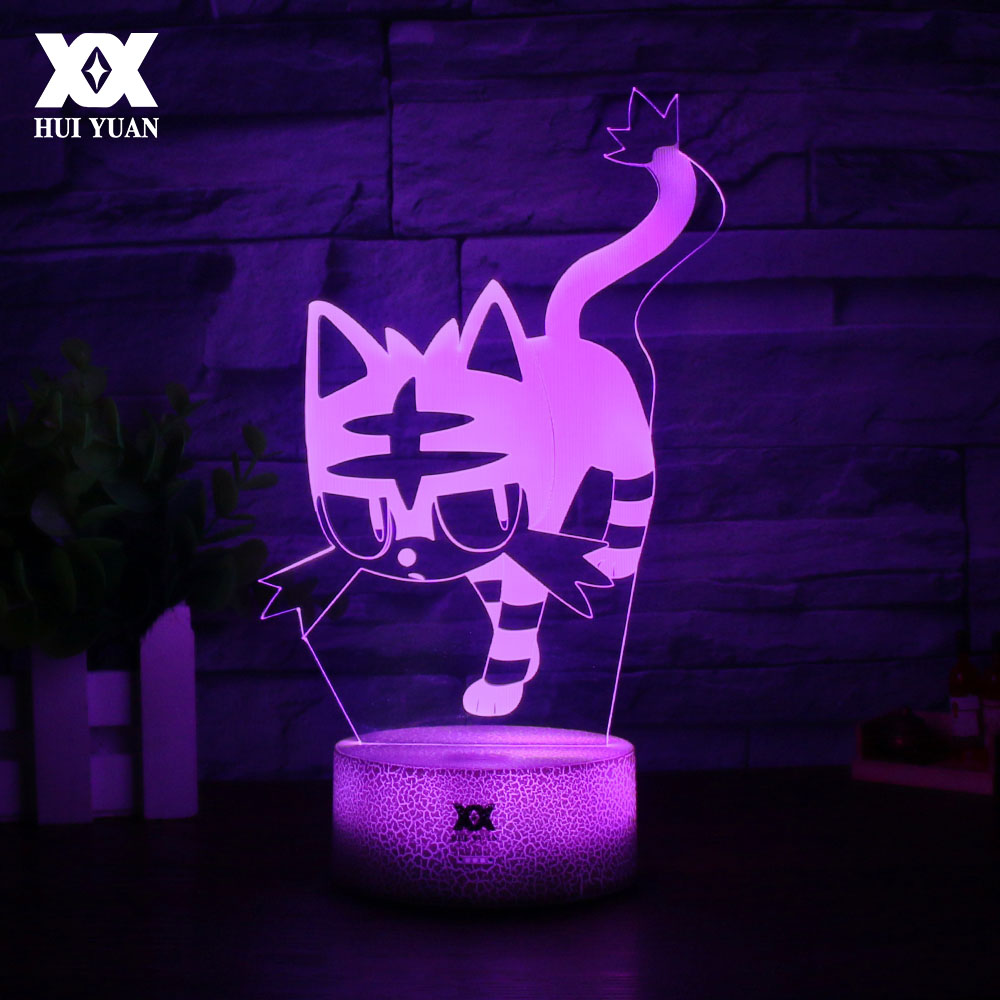 New Pokemon Cartoon 3D Lamp Creative LED Cool Multicolor Night Light Home Decoration Table Lamp Litten/Rowlet/Popplio Gift