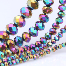OlingArt 3/4/6/8/10mm Round Beads Rondelle Austria faceted Multicolored crystal Magic color beads Loose bead DIY Jewelry Making