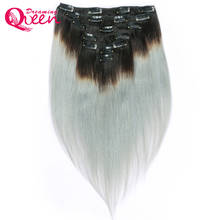 Dreaming Queen Hair 1B/Silver Grey Color Straight Human Hair Clip In Brazilian Ombre Remy Hair Extensions 7 Pcs/Set 120g Clips