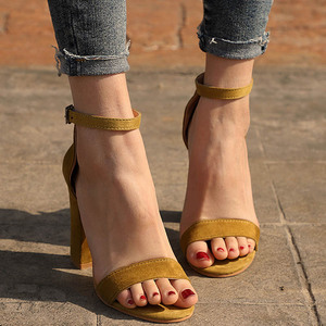 Image 3 - STAN SHARK Summer Women Flock Square Heel Sandals High Heels Buckle Strap Female Woman Dress Sandal Shoes For Girls Plus Size