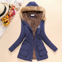 Winter Long Maternity Hooded Jacket Pregnancy Coat Jacket Fur Collar Side Pocket Drawstring Coat For Pregant Woman Snow Outwear