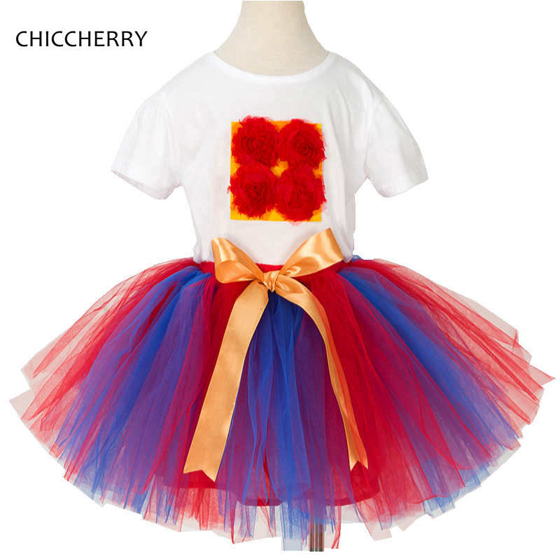 3D Rose Kids Birthday Tutu Outfits Set Cotton Children Girl T-shirt Lace Party Skirt Conjunto Infantil Meninas Teenager Clothing lady bug girls t shirt set tutu skirt and headband girl tutu sets birthday festival party cosplay children s clothing pt57