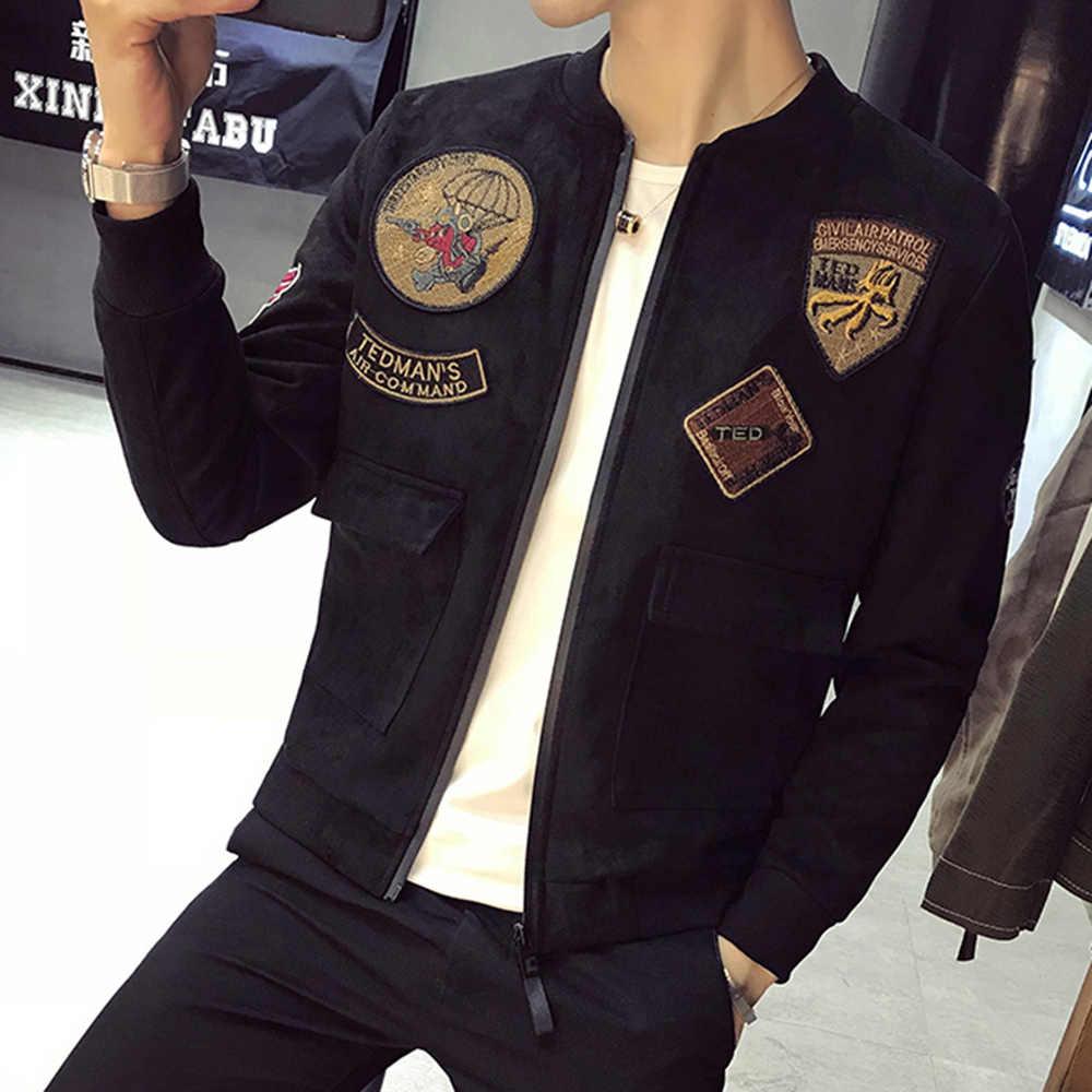 e266bc14c22 ... Весенняя новая замшевая куртка мужская мода 2019 Slim Fit патч дизайн  куртка-бомбер с длинным ...