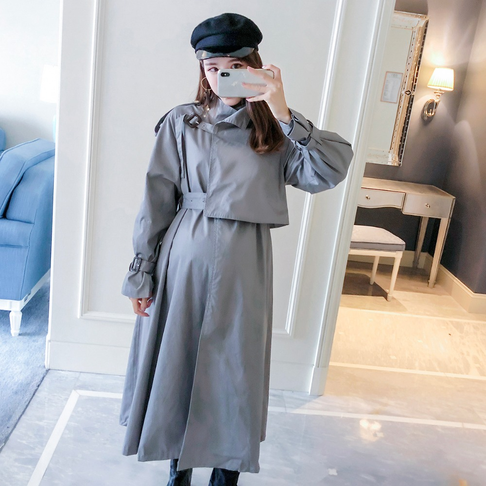 Pregnant women coat 2018 new fashion long-sleeved temperament maternity dress Korean version of the long-term windbreaker slim fit ruffle long sleeved hooded quilted coat for women