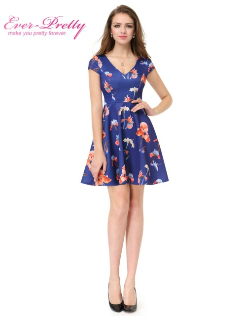 Blue Folows Cocktail Dresses AP05457 2016 Fashion Women Cocktail Dress Florals Print V-Neck Dress  Short Cocktail Dresses